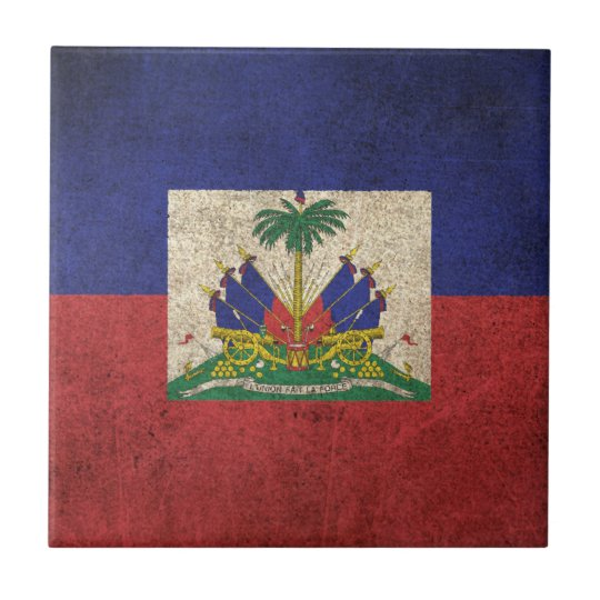 Vintage Distressed Flag of Haiti Small Square Tile