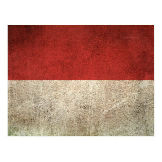 Vintage Distressed Flag of Indonesia Postcard