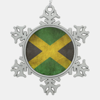Vintage Distressed Flag of Jamaica Snowflake Pewter Christmas Ornament