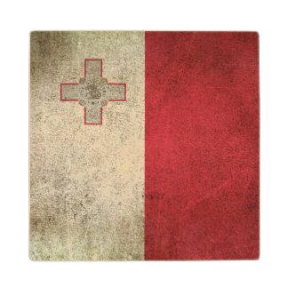 Vintage Distressed Flag of Malta Wood Coaster