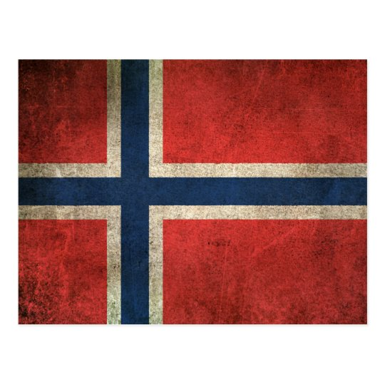 Vintage Distressed Flag of Norway Postcard
