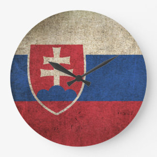 Vintage Distressed Flag of Slovakia Large Clock