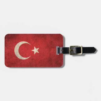 Vintage Distressed Flag of Turkey Luggage Tag