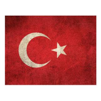 Vintage Distressed Flag of Turkey Postcard