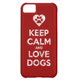 Vintage Distressed Keep Calm And Love Dogs iPhone 5C Case