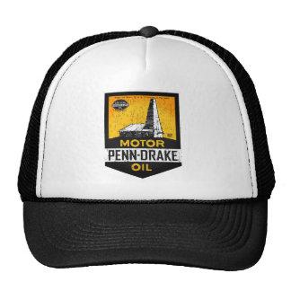 Vintage distressed Penn Drake Motor Oil sign Hats