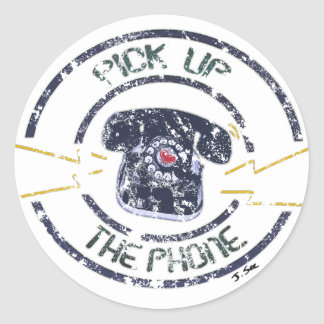 Vintage Distressed Pick Up The Phone Sticker