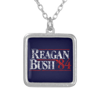 Vintage Distressed Reagan Bush '84 Campaign Square Pendant Necklace
