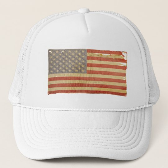 Vintage Distressed Tattered U.S. Flag Trucker Hat
