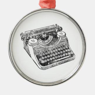 Vintage Distressed Underwood Typewriter Silver-Colored Round Decoration