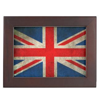 Vintage Distressed Union Jack Flag of The UK Keepsake Box