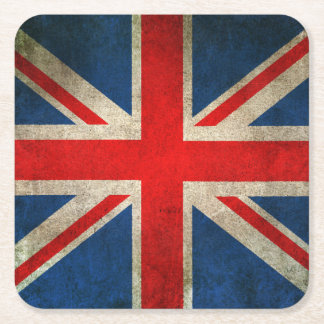 Vintage Distressed Union Jack Flag of The UK Square Paper Coaster