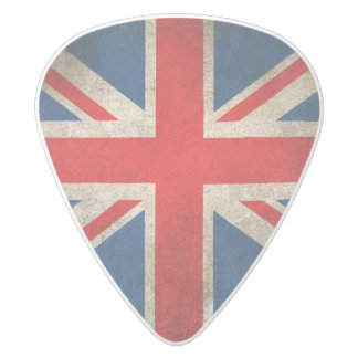 Vintage Distressed Union Jack Flag of The UK White Delrin Guitar Pick