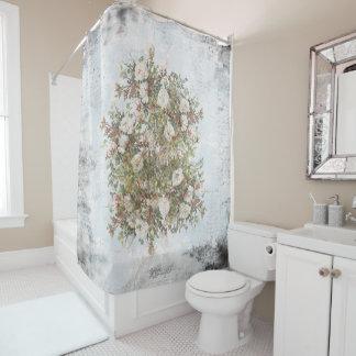 Vintage Distressed White Boho Rose Shower Curtain