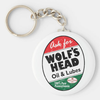Vintage distressed Wolfs Head sign Basic Round Button Key Ring