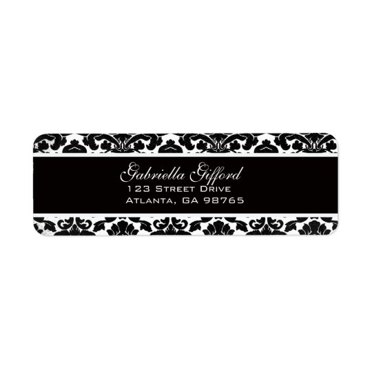 Vintage Divine Damask Black Return Address Label