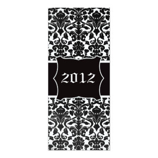Vintage Divine Damask with Name Plate New Years 10 Cm X 24 Cm Invitation Card