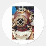 Vintage Diving Helmet Round Stickers