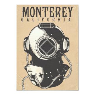 Vintage Diving poster to Monterey California USA 11 Cm X 16 Cm Invitation Card