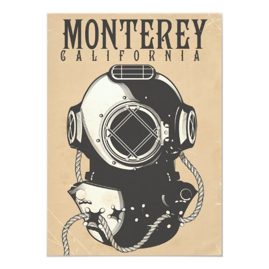 Vintage Diving poster to Monterey California USA Card