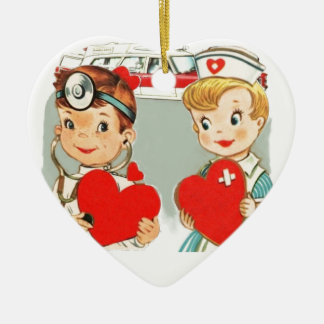 vintage doctor and nurse love with ambulance ceramic heart decoration