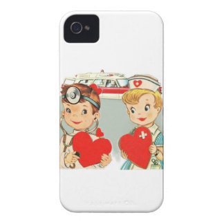 vintage doctor and nurse love with ambulance iPhone 4 case