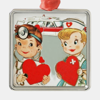 vintage doctor and nurse love with ambulance Silver-Colored square decoration