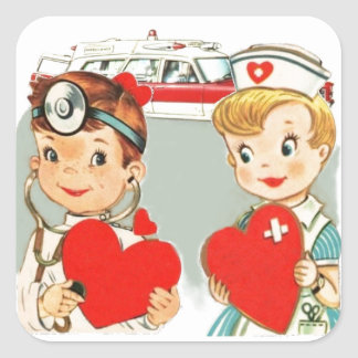 vintage doctor and nurse love with ambulance square sticker