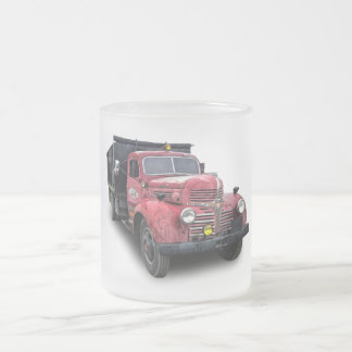 VINTAGE DODGE TRUCK FROSTED GLASS COFFEE MUG