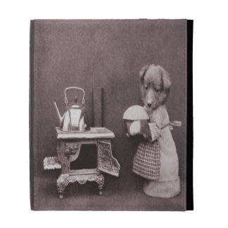 Vintage Dog Baking in the Kitchen iPad Folio Covers