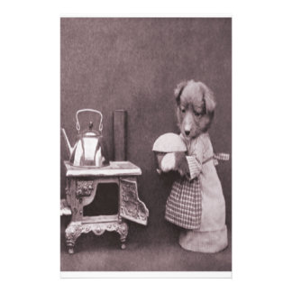 Vintage Dog Baking in the Kitchen Customized Stationery