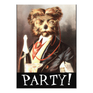 Vintage Dog Butler serving Champagne Personalized Invitations