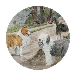 Vintage Dog Trio Glass Cutting Boards