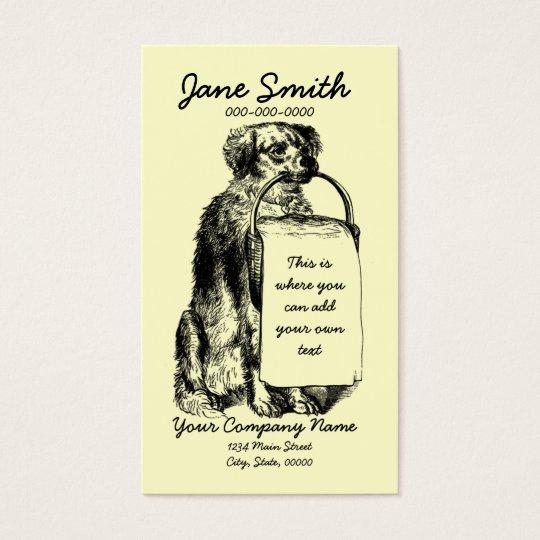 Vintage Dog with Basket Business Card