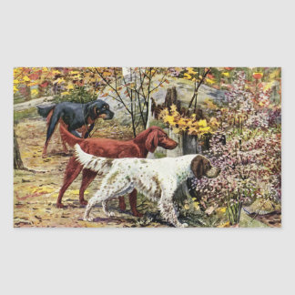 Vintage Dogs Setter Trio Rectangular Sticker