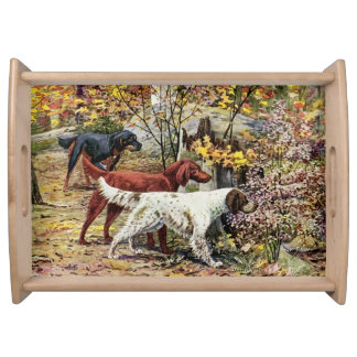 Vintage Dogs Setter Trio Serving Tray