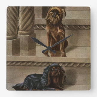 Vintage Dogs Sitting on a Staircase Square Wall Clock