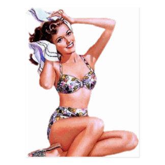 Vintage Doing the Do Pin Up Girl Postcard