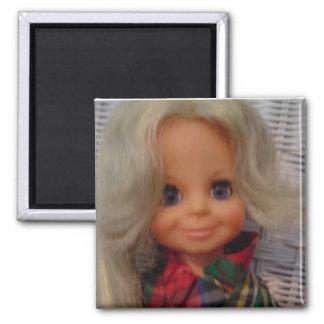 Vintage Doll Square Magnet