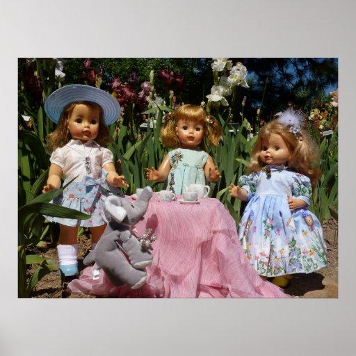 Vintage Dolls Elegant Tea Party Poster
