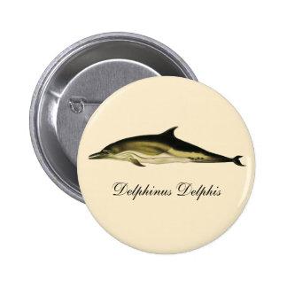 Vintage Dolphin, Marine Life Animals and Mammals 6 Cm Round Badge
