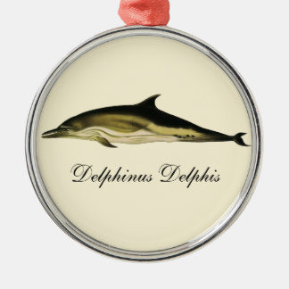 Vintage Dolphin, Marine Life Animals and Mammals Silver-Colored Round Decoration