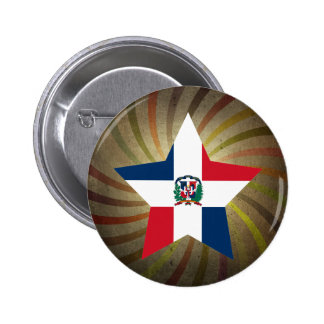 Vintage Dominican Flag Swirl 6 Cm Round Badge