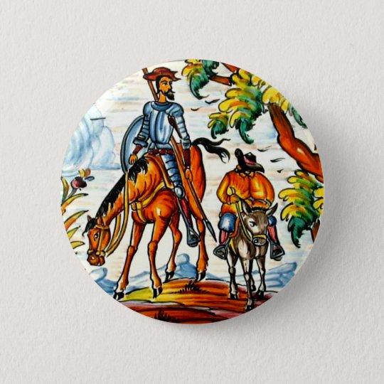 Vintage Don Quixote Majolica Pottery Art Antique 6 Cm Round Badge