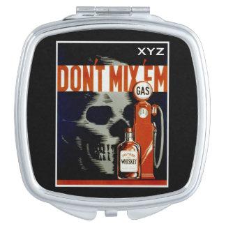 "Vintage ""Don't Mix 'Em"" custom pocket mirror Travel Mirror"