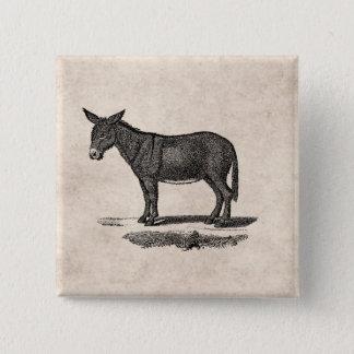 Vintage Donkey Illustration -1800's Donkeys 15 Cm Square Badge