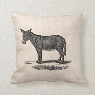 Vintage Donkey Illustration - 1800's Donkeys Cushion