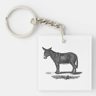 Vintage Donkey Illustration - 1800's Donkeys Key Ring