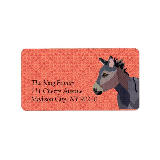 Vintage Donkey  Label Address Label