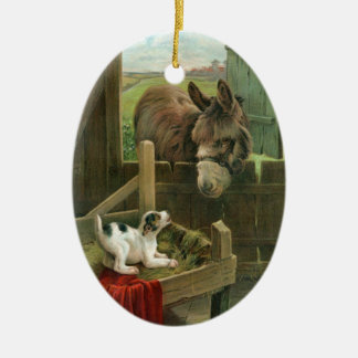 Vintage Donkey & Puppy Dog in Manger Old Barnyard Christmas Ornament
